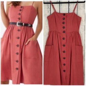 Dresses & Skirts - LINEN BLEND A LINE BUTTON FRONT MIDI DRESS